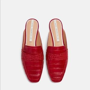 Zara Red Croc Embossed Slippers